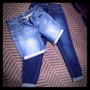 Skinny Jean's and pair of jean shorts combo
